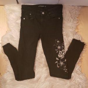 Zara Trafuluc Denim Black Embroidered Skinny Jeans